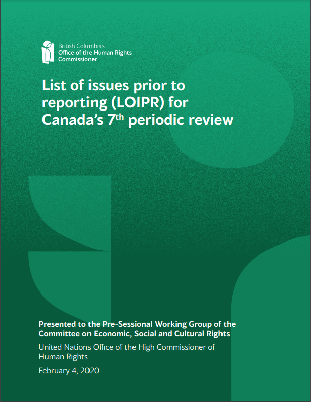Green report cover for: List of issues prior to reporting (LOIPR) for Canada's 7th periodic review